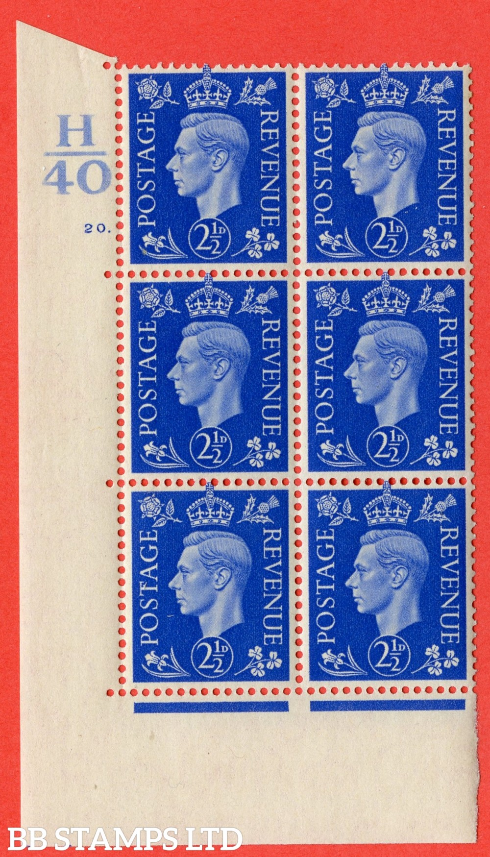 "SG. 466. Q13. 2½d Ultramarine. A superb UNMOUNTED MINT "" Control H40 cylinder 20 dot "" control block of 6 with perf type 5 E/I."