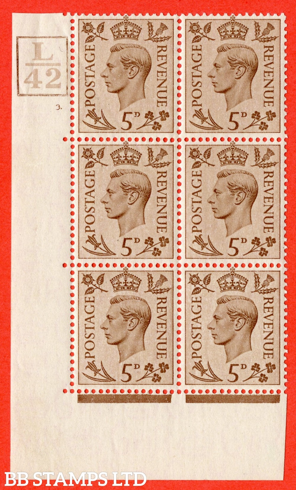 """SG. 469. Q21. 5d Brown. A superb UNMOUNTED MINT.  """" Control L42. Box cylinder 3 no dot """" control block of 6 with perf type 5 E/I."""