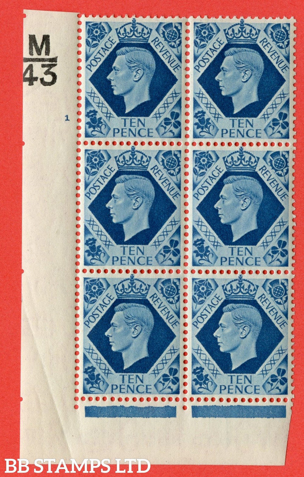"SG. 474. Q26. 10d Turquoise-Blue. A fine lightly mounted mint "" Control M43 cylinder 1 no dot "" control block of 6 with perf type 2 I/E."
