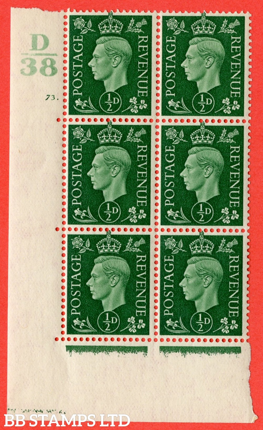 "SG. 462. Q1. ½d Green. A superb UNMOUNTED MINT "" Control D38 cylinder 73 dot "" block of 6 with perf type 5 E/I with marginal rule."