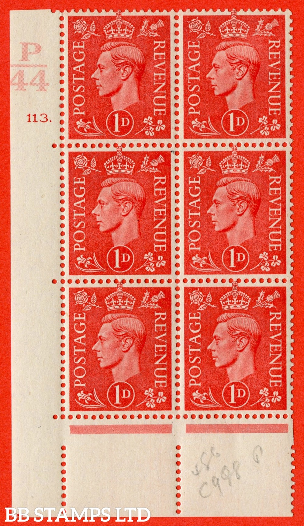 "SG. 486. Q5. 1d Pale scarlet. A superb UNMOUNTED MINT "" Control P44  cylinder 113 dot "" control block of 6 with perf type 5 E/I."