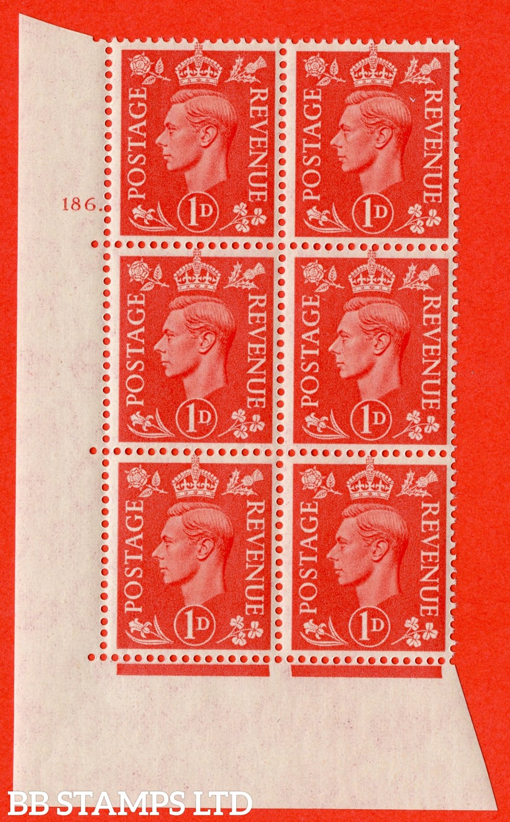 "SG. 486. Q5. 1d Pale scarlet. A superb UNMOUNTED MINT "" No Control   cylinder 186 dot "" control block of 6 with perf type 5 E/I."