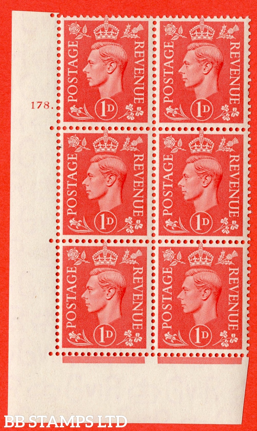 "SG. 486. Q5. 1d Pale scarlet. A superb UNMOUNTED MINT "" No Control   cylinder 178 dot "" control block of 6 with perf type 5 E/I."
