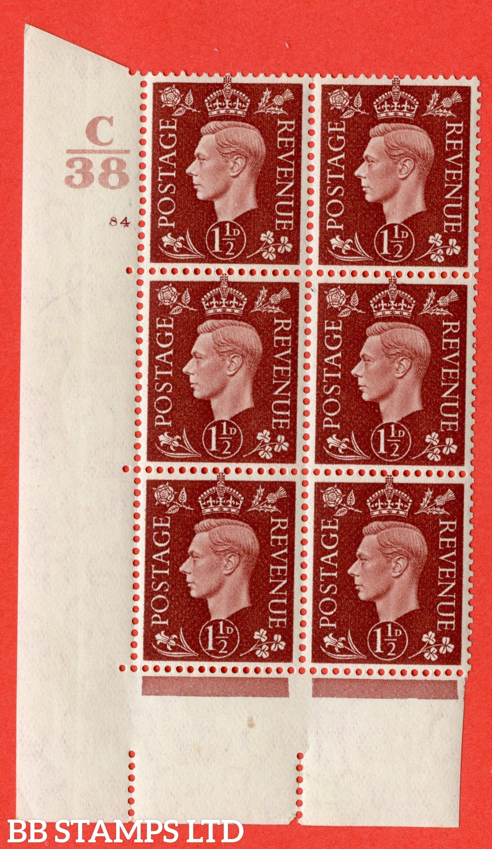 """SG. 464. Q7. 1½d Red-Brown. A superb UNMOUNTED MINT """" Control C38 cylinder 84 no dot """" block of 6 with perf type 5 E/I."""