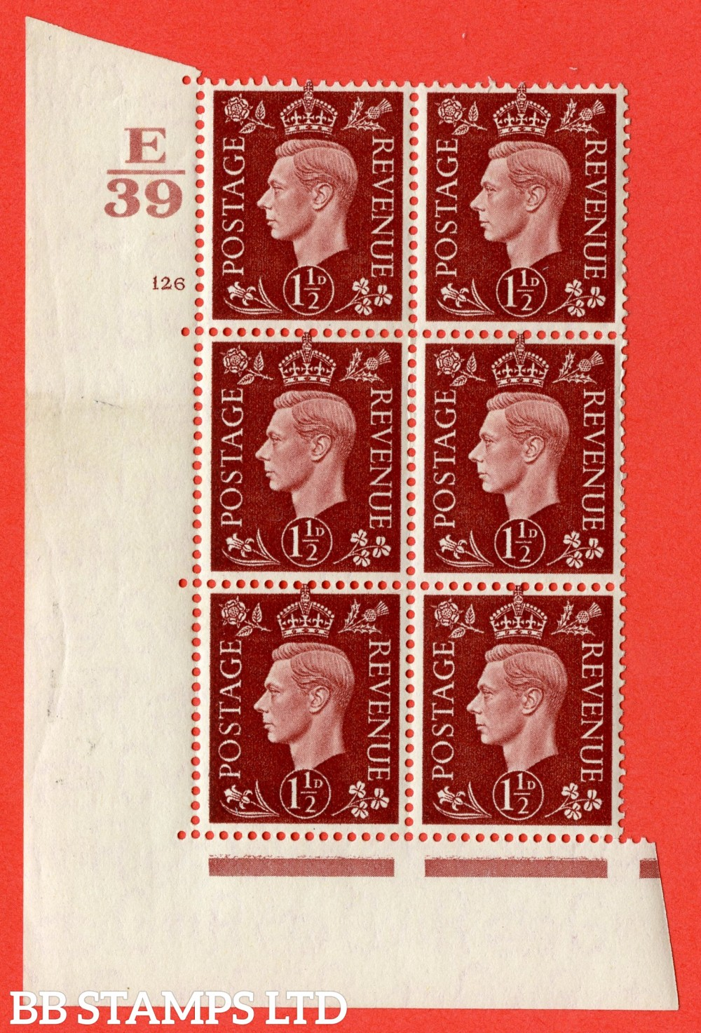 "SG. 464. Q7. 1½d Red-Brown. A superb UNMOUNTED MINT  "" Control E39 cylinder 126 no dot "" block of 6 with perf type 5 E/I."