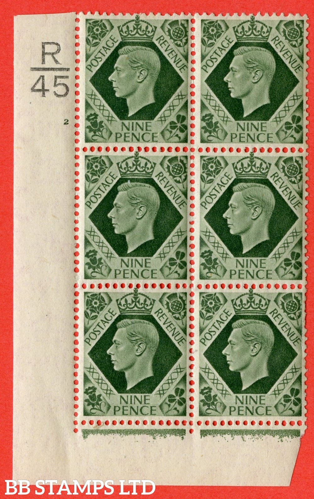 "SG. 473. Q25 b. 9d Olive-Green. A fine lightly mounted mint "" Control R45 cylinder 2 no dot "" control block of 6 with perf type 2 I/E with listed variety "" Serif touched out but dot remains "" Row 18/1."