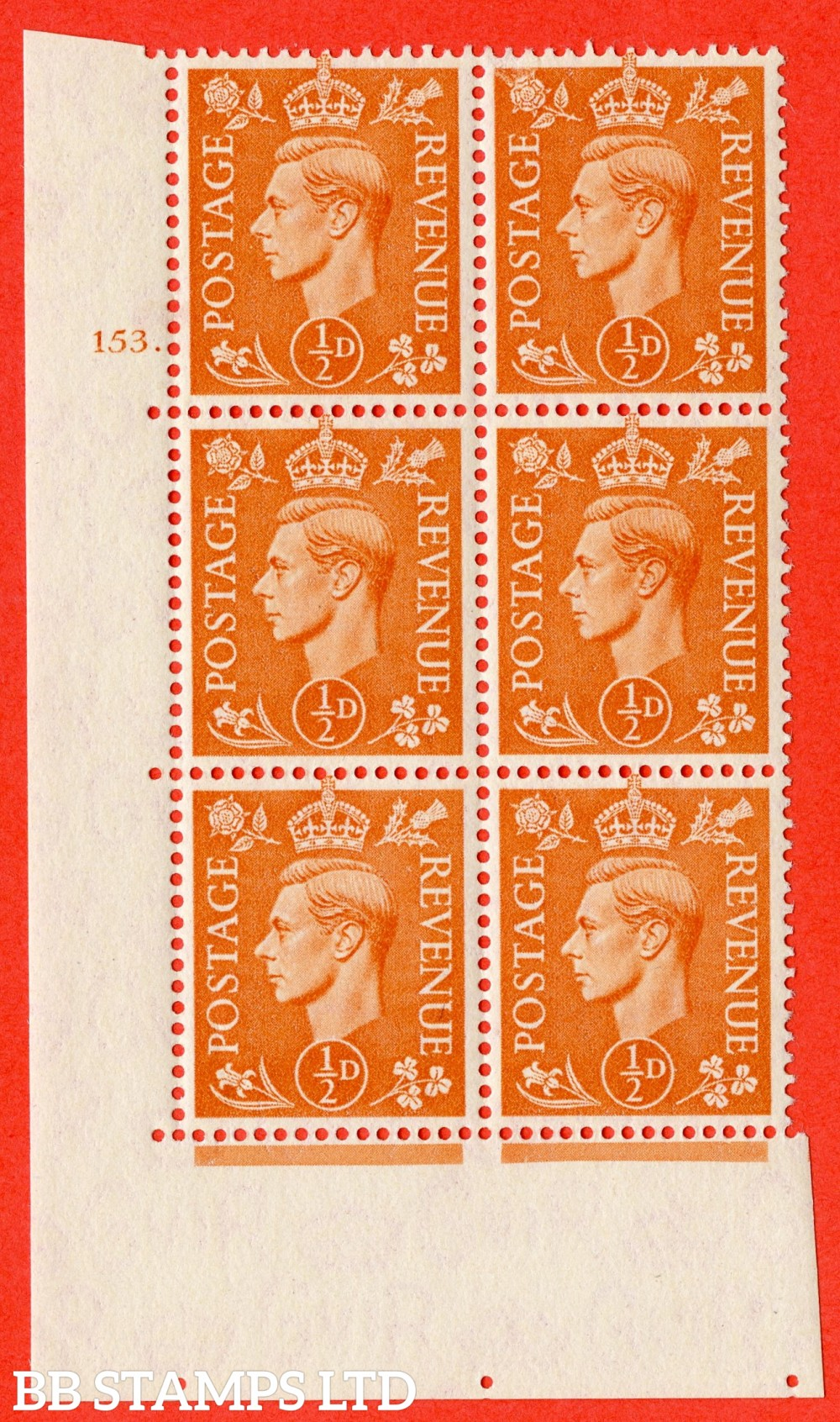 "SG. 503. Q3. ½d Pale Orange. A fine lightly mounted mint "" No Control cylinder 153 dot "" control block of 6 with perf type 5 E/I."