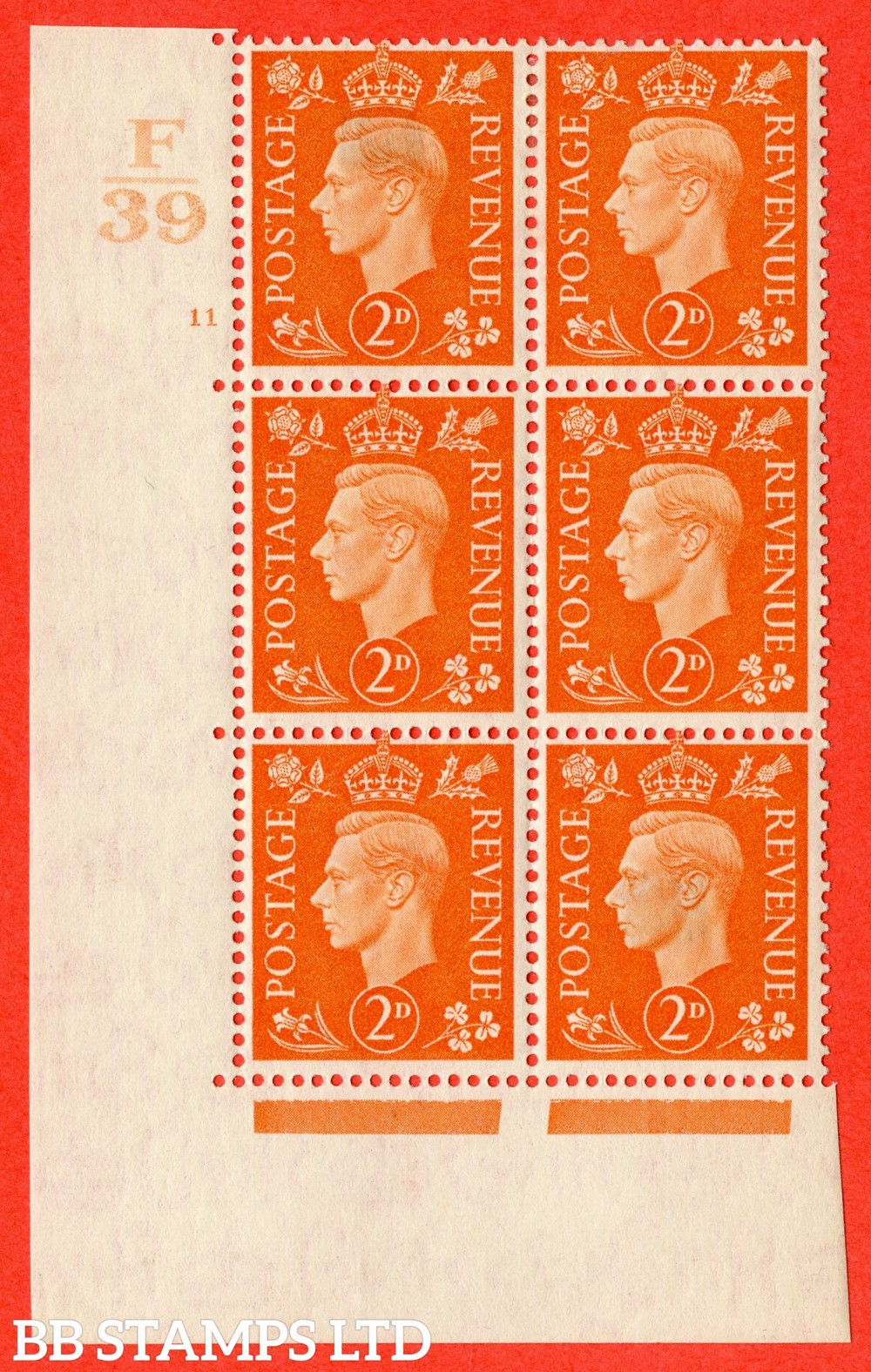 "SG. 465. Q10. 2d Orange. A superb UNMOUNTED MINT"" Control F39 cylinder 11 no dot "" control block of 6 with perf type 5 E/I."
