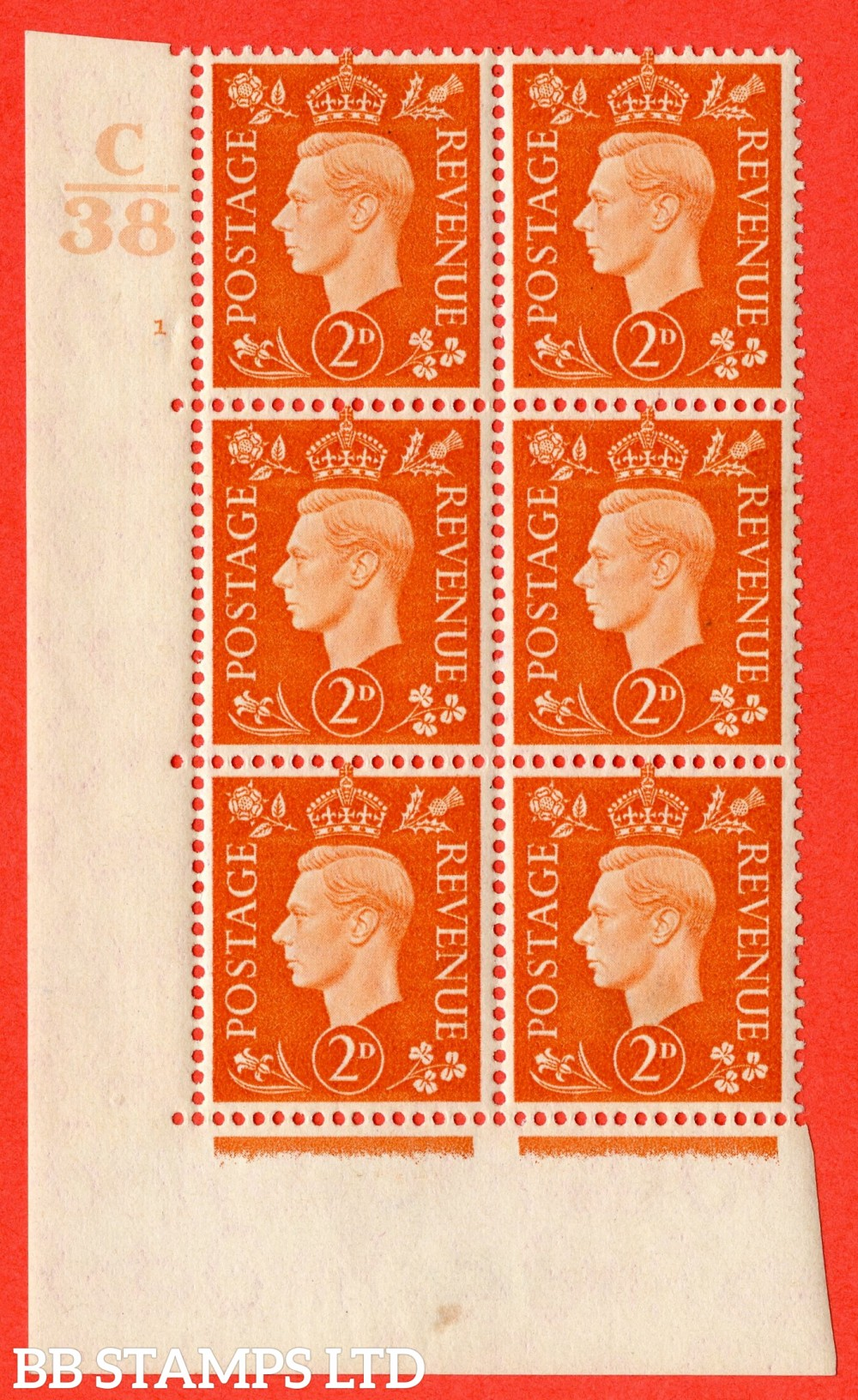 "SG. 465. Q10. 2d Orange. A fine mounted mint "" Control C38 cylinder 1 no dot "" control block of 6 with perf type 5 E/I."