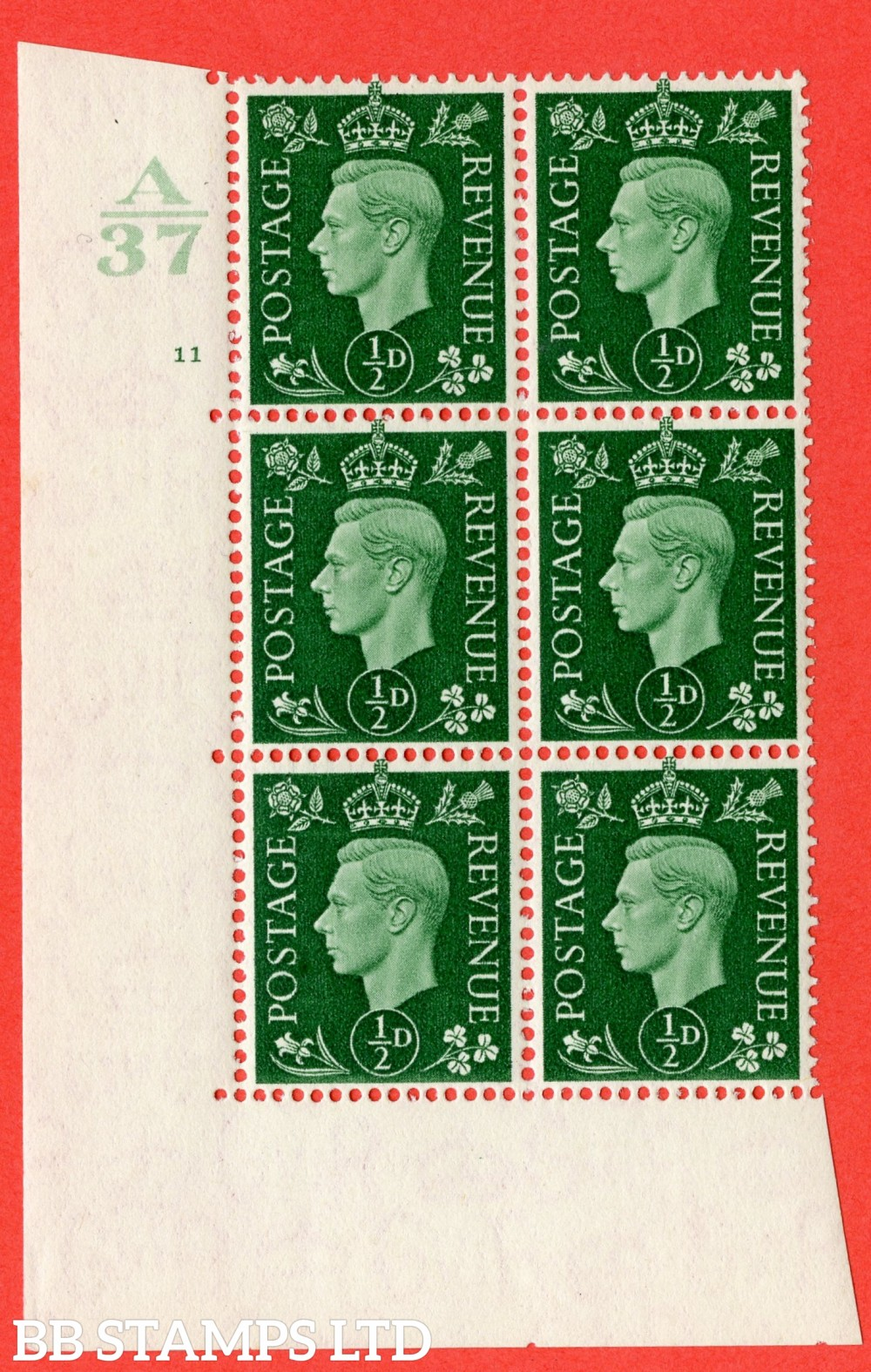 "SG. 462. Q1. ½d Green. A fine lightly mounted mint "" Control A37 cylinder 11 no dot "" block of 6 with perf type 5 E/I  without marginal rule."