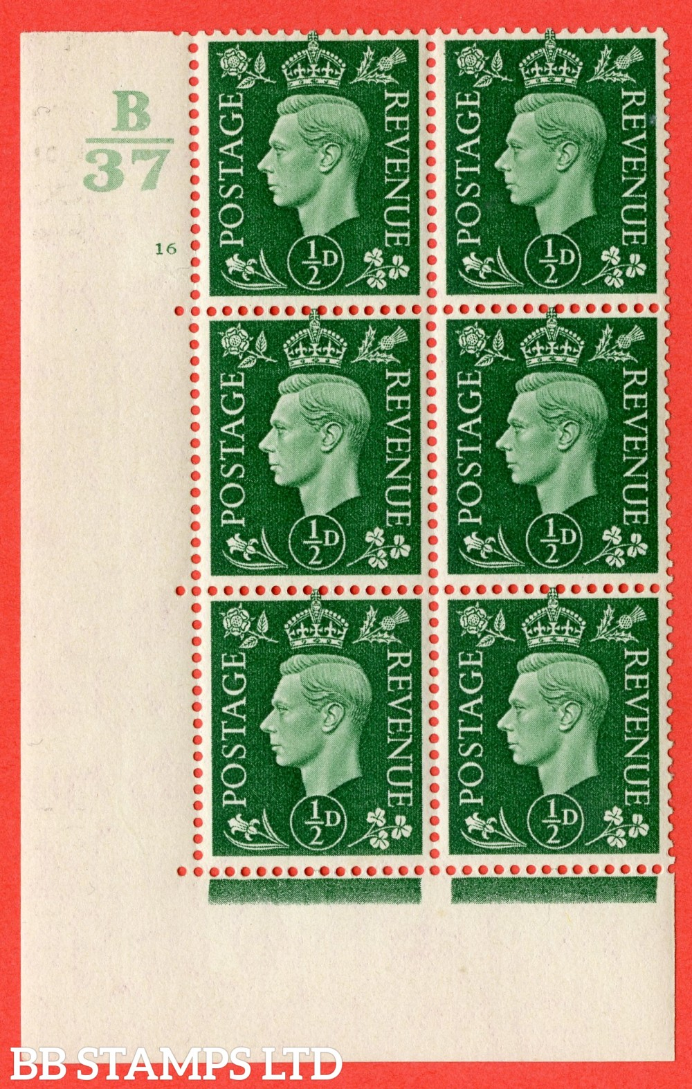 "SG. 462. Q1. ½d Green. A superb UNMOUNTED MINT "" Control B37 cylinder 16 no dot "" block of 6 with perf type 5 E/I."