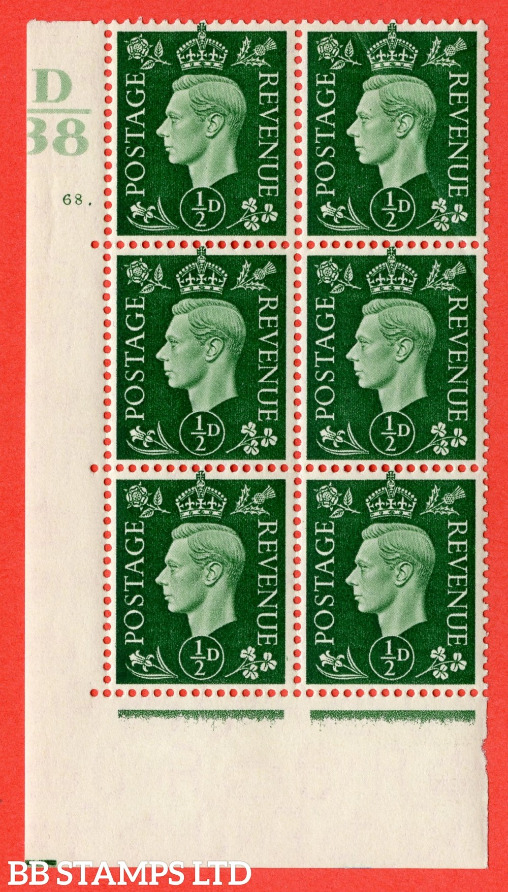 "SG. 462. Q1. ½d Green. A superb UNMOUNTED MINT "" Control D38 cylinder 68 dot "" block of 6 with perf type 5 E/I."
