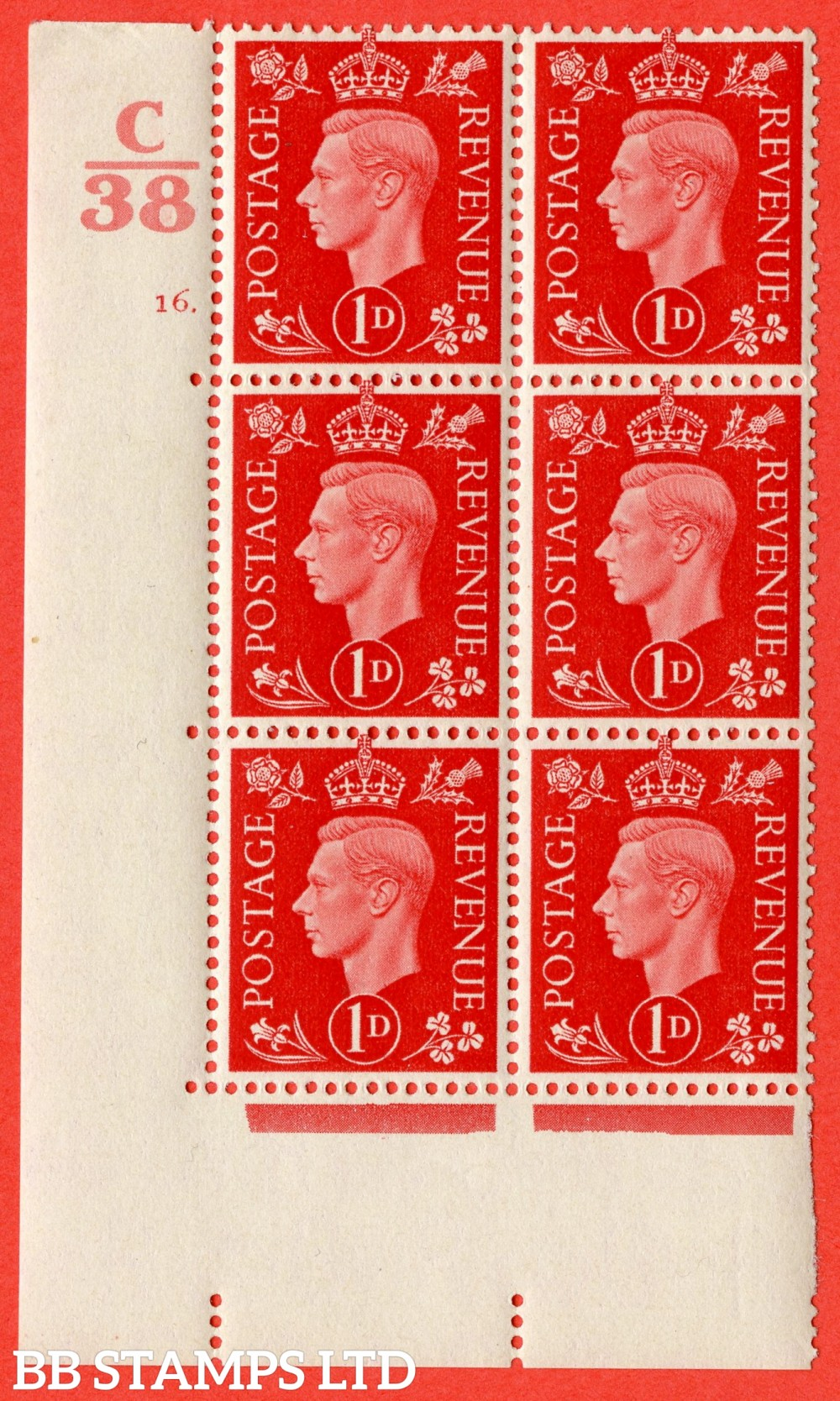 "SG. 463. Q4. 1d Scarlet. A superb UNMOUNTED MINT "" Control C38 cylinder 16 dot "" block of 6 with perf type 5 E/I."