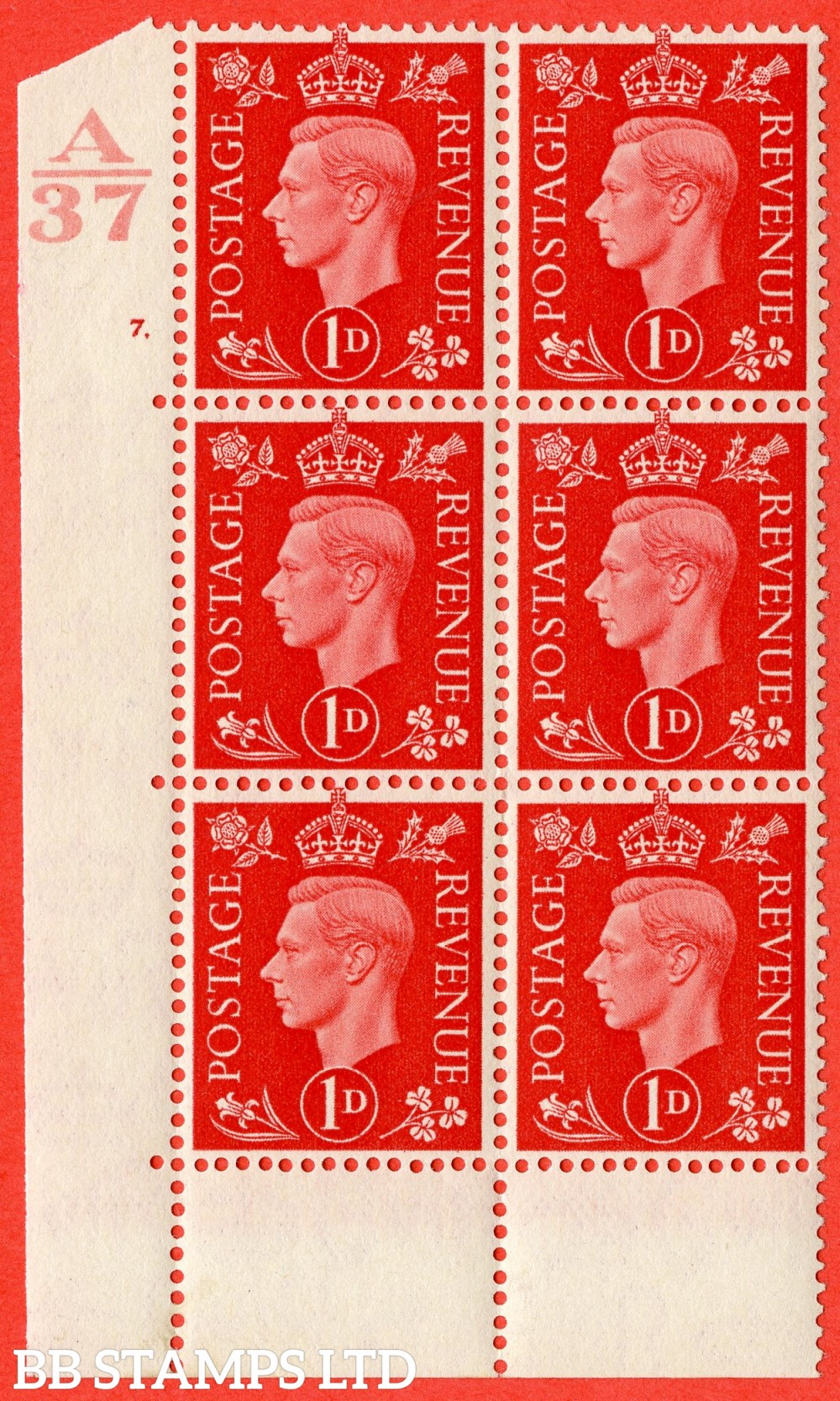 "SG. 463. Q4. 1d Scarlet. A superb UNMOUNTED MINT "" Control A37 cylinder 7 dot "" block of 6 with perf type 6B E/P without marginal rule."