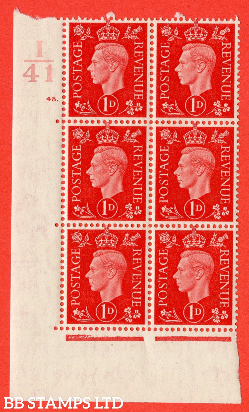 "SG. 463. Q4. 1d Scarlet. A superb UNMOUNTED MINT "" Control I41 cylinder 48 dot "" block of 6 with perf type 5 E/I."