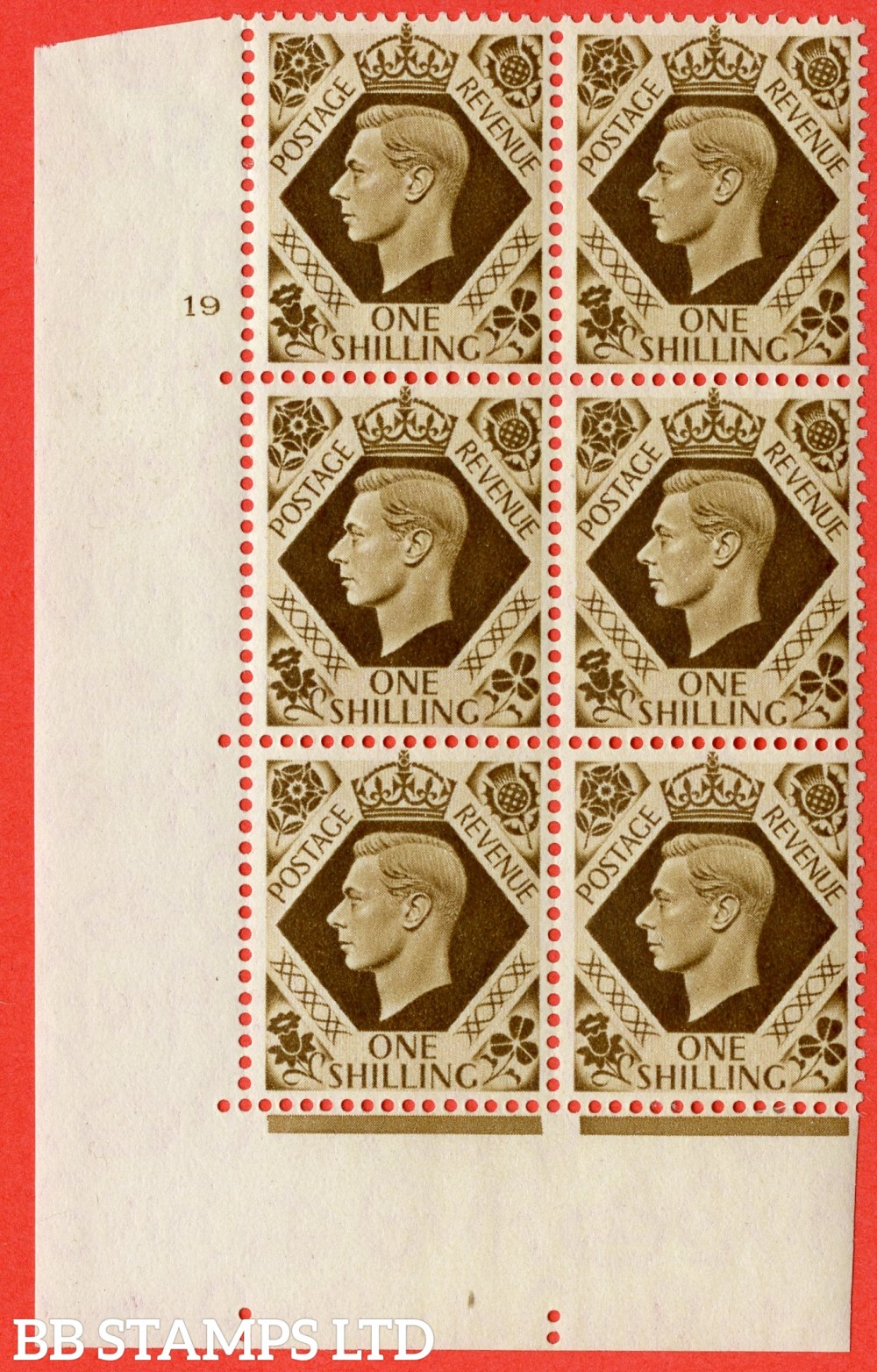 "SG. 475. Q28. 1/- Bistre-Brown. A fine lightly mounted mint "" NO Control  cylinder 19 no dot "" control block of 6 with perf type 5 E/I."