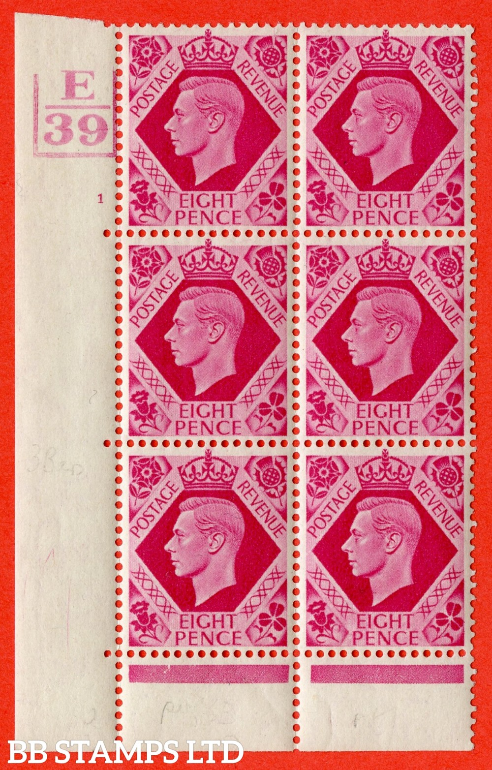 "SG. 472. Q24. 8d Carmine. A fine lightly mounted mint "" Control E39 3 Bars. Cylinder 1 no dot "" control block of 6 with perf type 6B E/P"