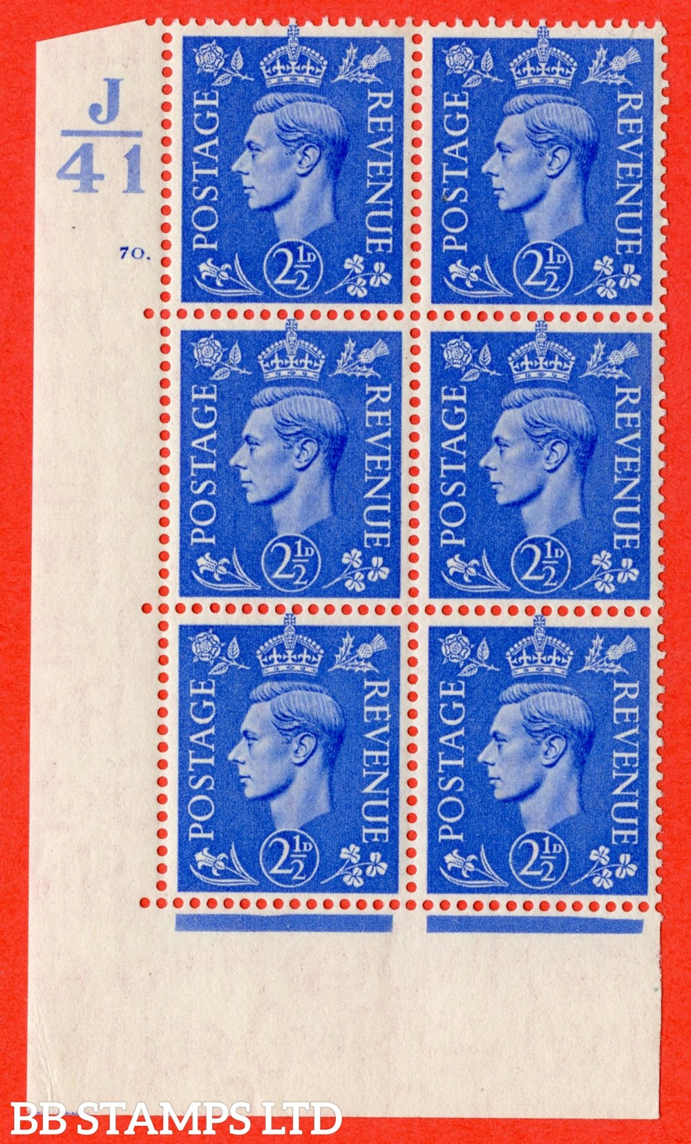 """SG. 489. Q14. 2½d Light ultramarine. A superb UNMOUNTED MINT """" Control  J41 cylinder 70 dot """" control block of 6 with perf type 5 E/I."""