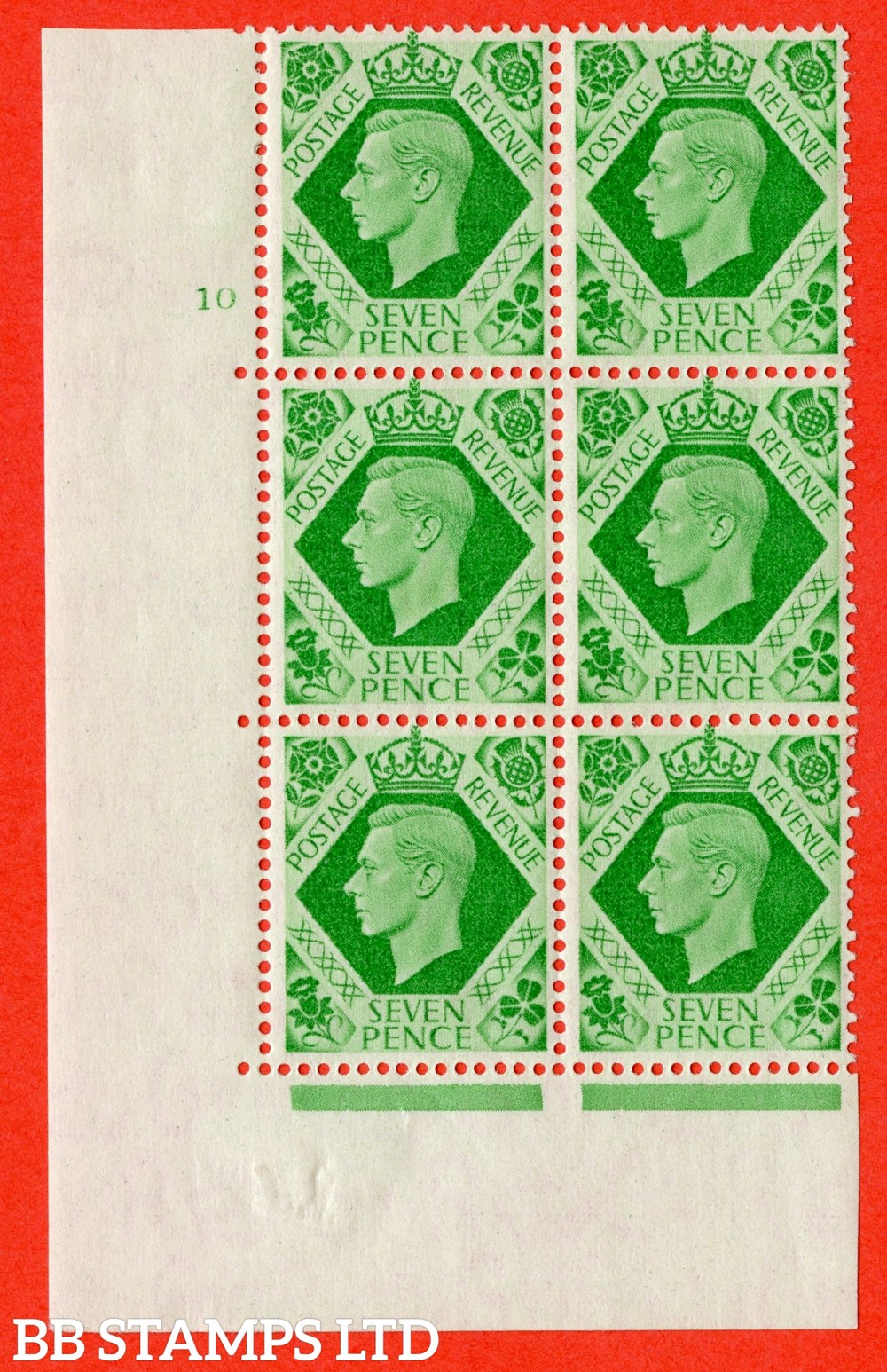 "SG. 471. c. Q23. 7d Emerald-Green. A fine lightly mounted mint "" No Control. Cylinder 10 no dot "" control block of 6 with perf type 5 E/I with listed variet "" Damaged N in Revenue "" R20/2."