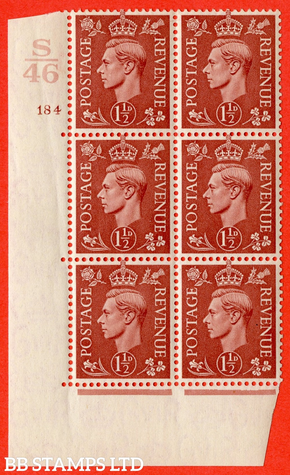 "SG. 487. Q8. 1½d Pale Red-Brown. A superb UNMOUNTED MINT "" Control S46 cylinder 184 no dot "" control block of 6 with perf type 5 E/I."