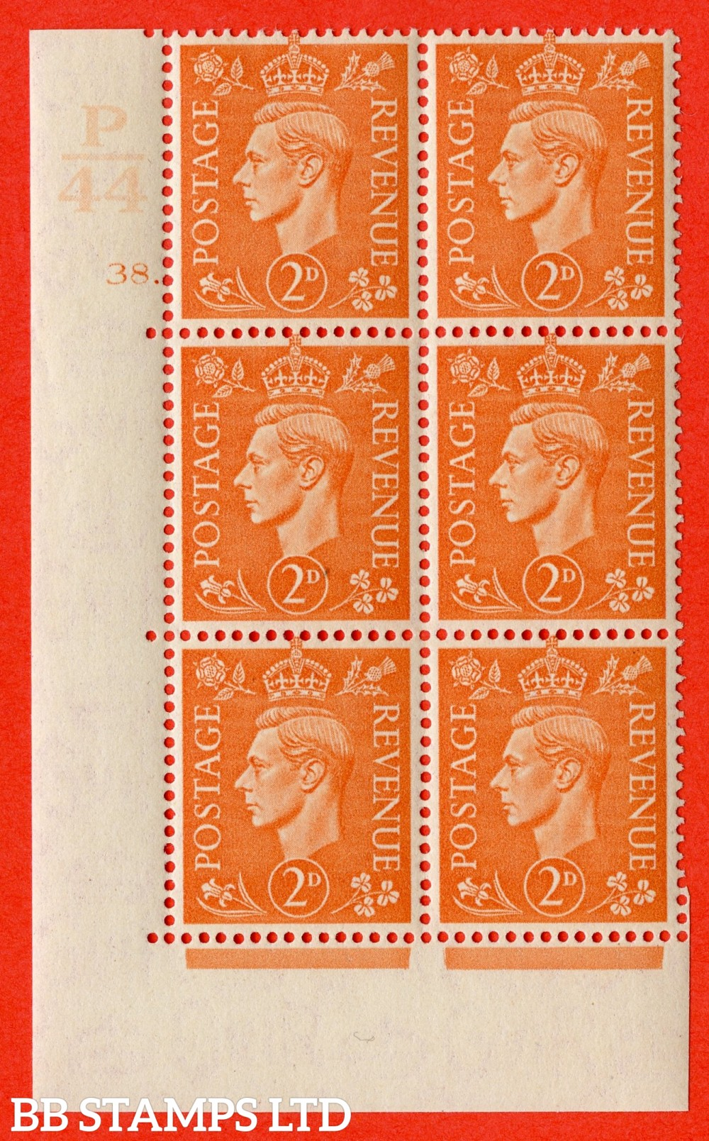 """SG. 488. Q11. 2d Pale Orange. A superb UNMOUNTED MINT """" Control P44 cylinder 38 dot """" control block of 6 with perf type 5 E/I."""
