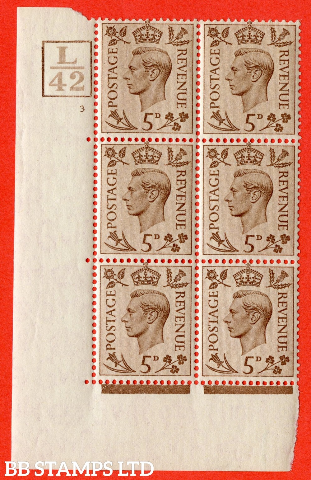 """SG. 469. Q21. 5d Brown. A fine lighly mounted mint.  """" Control L42. Box. Cylinder 3 no dot """" control block of 6 with perf type 5 E/I."""