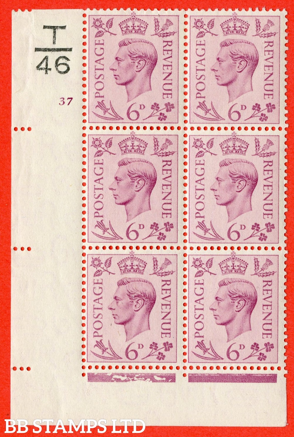 """SG. 470. Q22. 6d Purple. A fine lightly mounted mint """" Control T46 cylinder 37 no dot """" control block of 6 with perf type 2 E/I"""