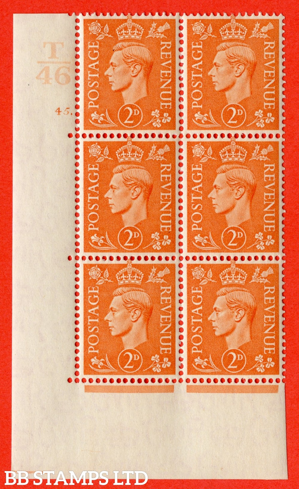 """SG. 488. Q11. 2d Pale Orange. A superb UNMOUNTED MINT """" Control T46 cylinder 45 dot """" control block of 6 with perf type 5 E/I."""