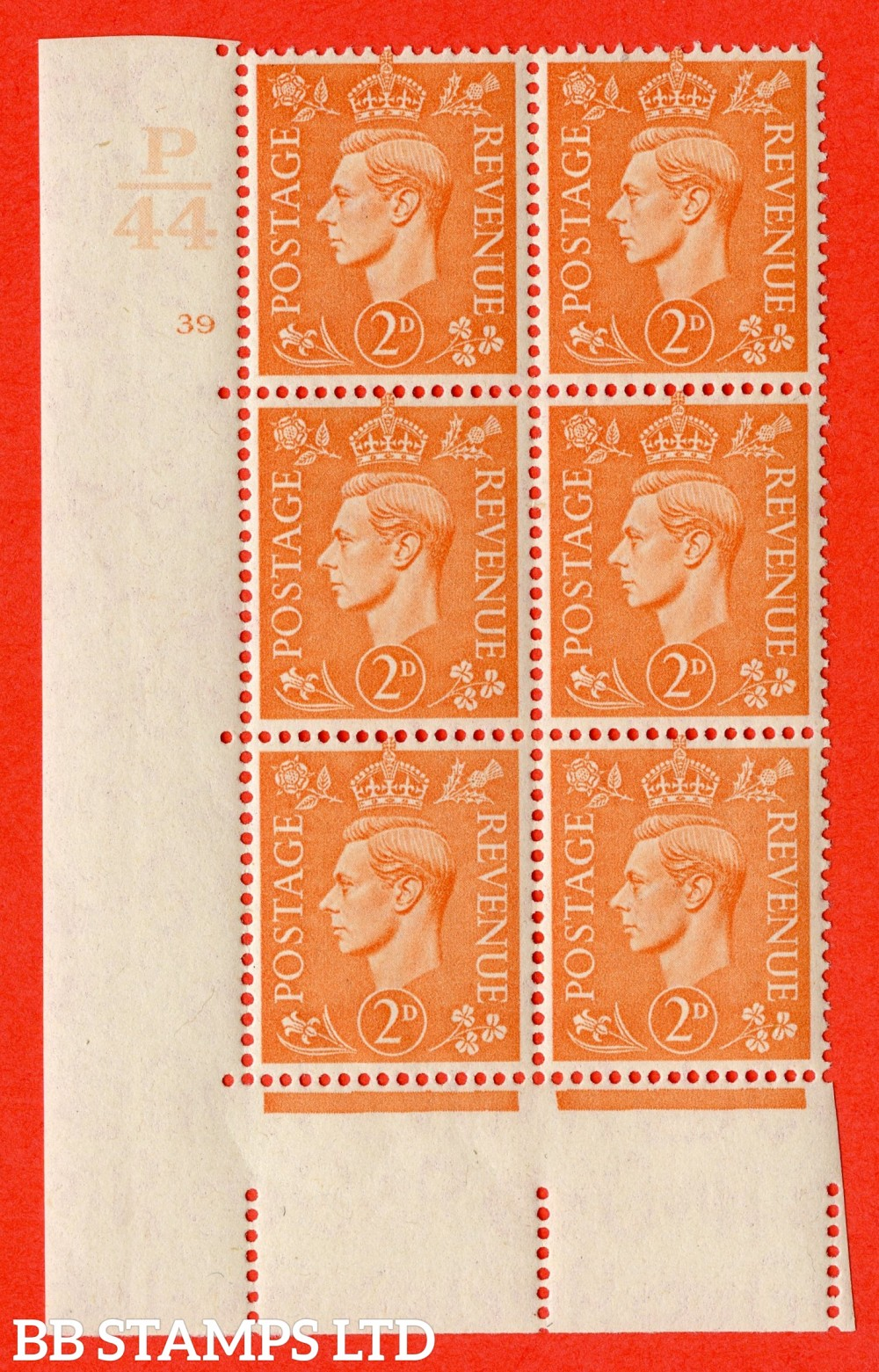 "SG. 488. Q11. 2d Pale Orange. A fine lightly mounted mint "" Control P44 cylinder 39 no dot "" control block of 6 with perf type 5 E/I."