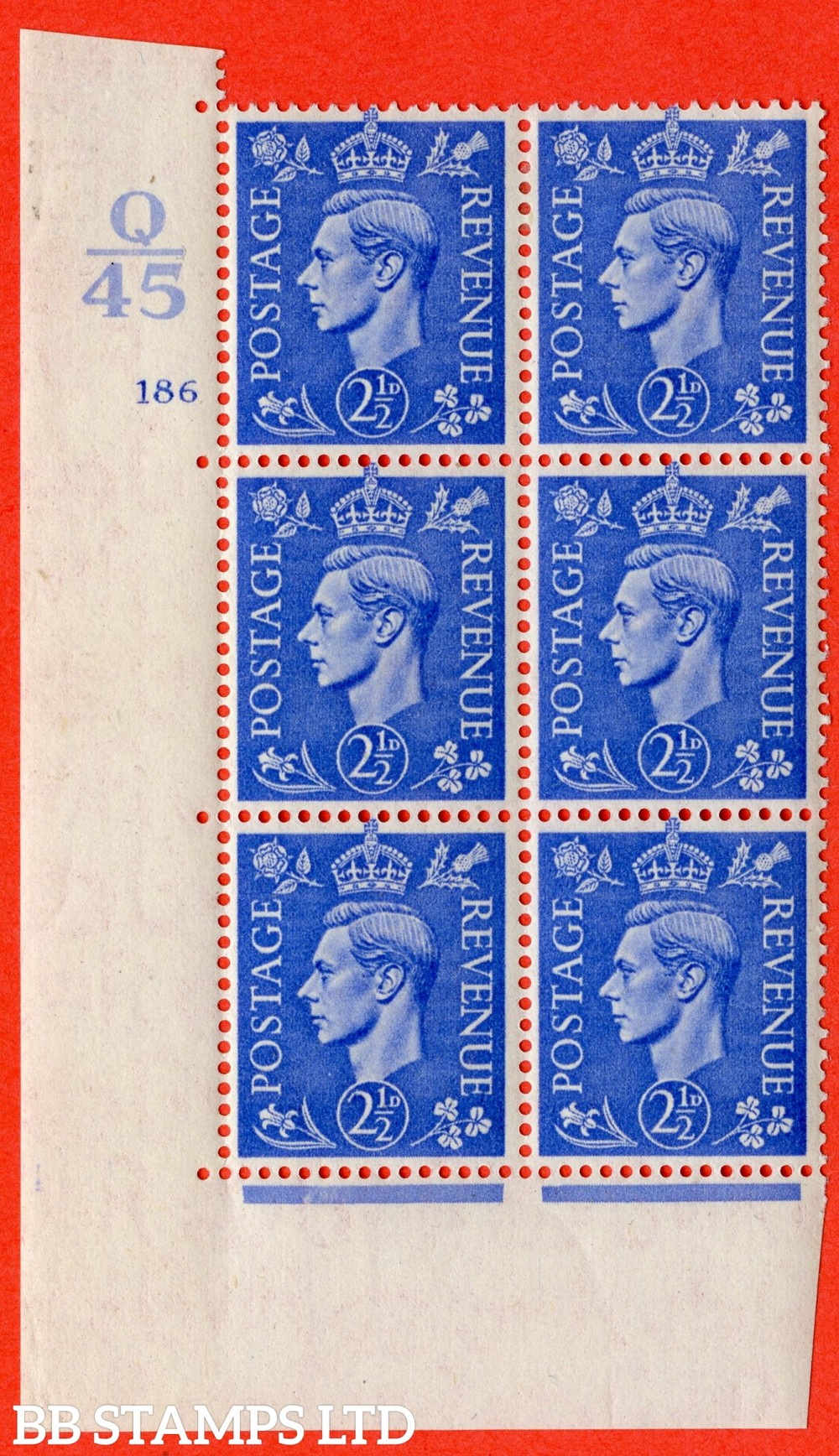 "SG. 489. Q14. 2½d Light ultramarine. A fine lightly mounted mint "" Control Q45 cylinder 186 no dot "" control block of 6 with perf type 5 E/I."