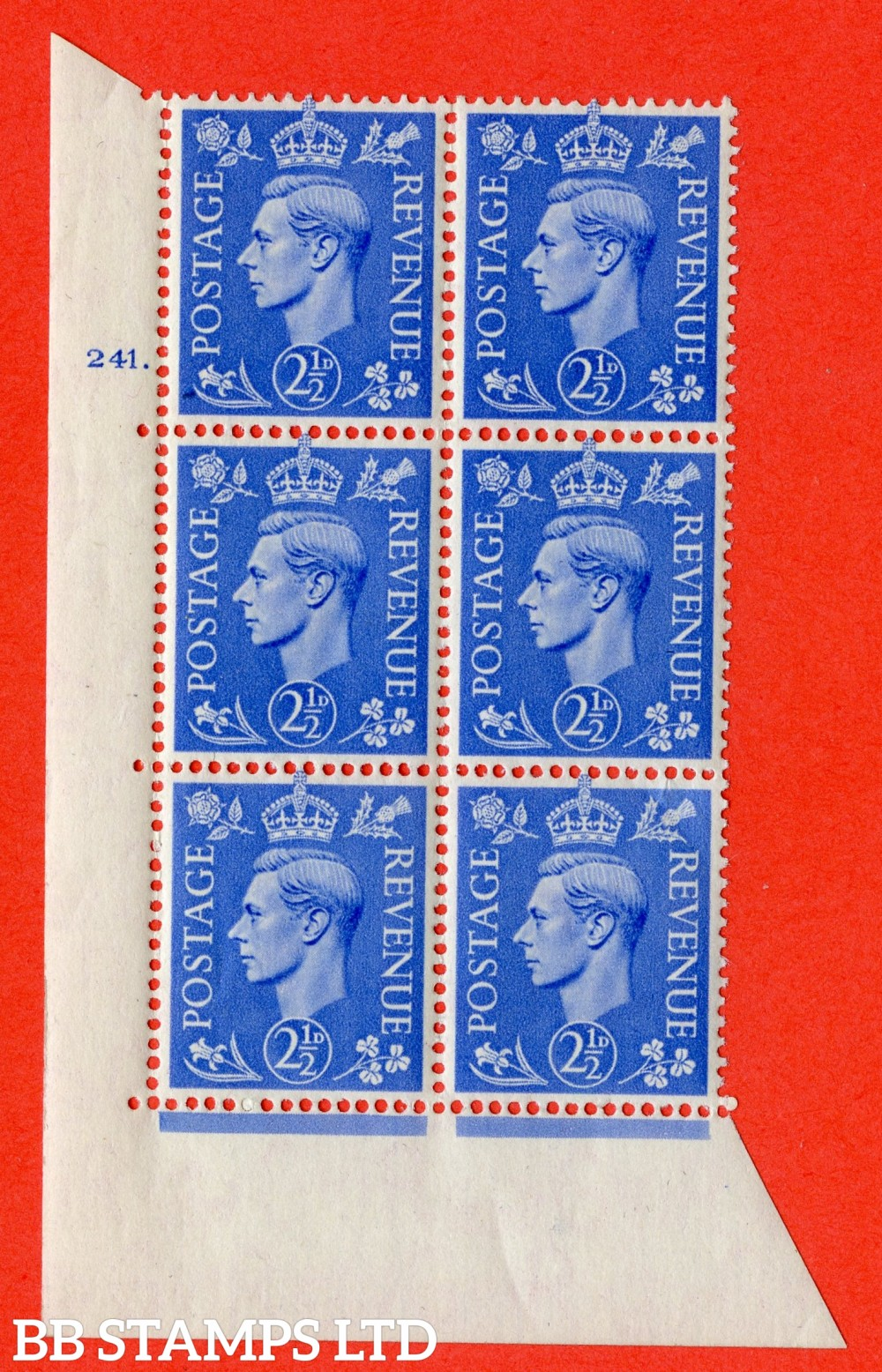 "SG. 489. Q14. 2½d Light ultramarine. A superb UNMOUNTED MINT "" No Control cylinder 241 dot "" control block of 6 with perf type 5 E/I"