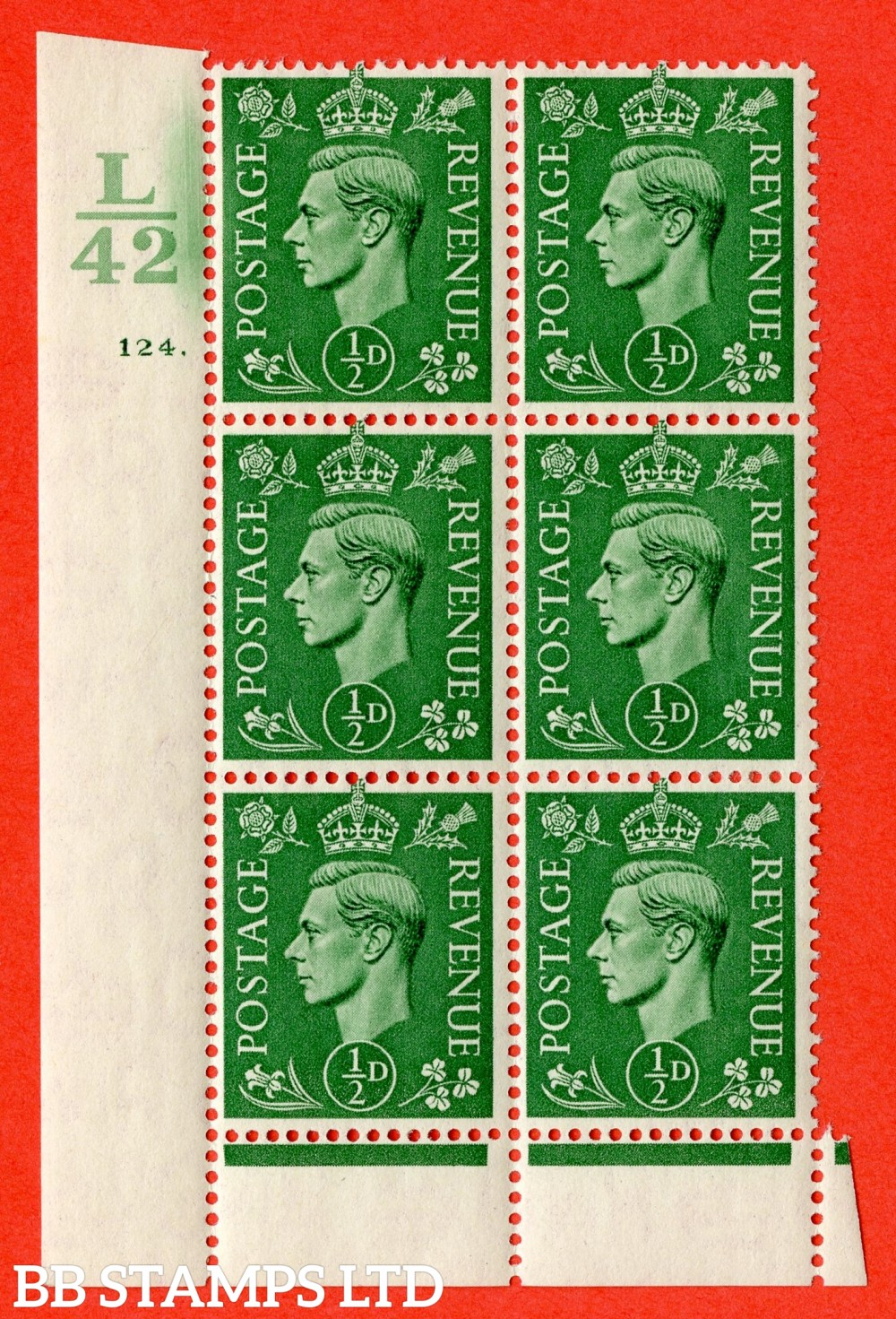 "SG. 485. Q2. ½d Pale Green. A very fine lightly mounted mint "" Control L42 cylinder 124 dot "" block of 6 with perf type 6 I/P with marginal rule."