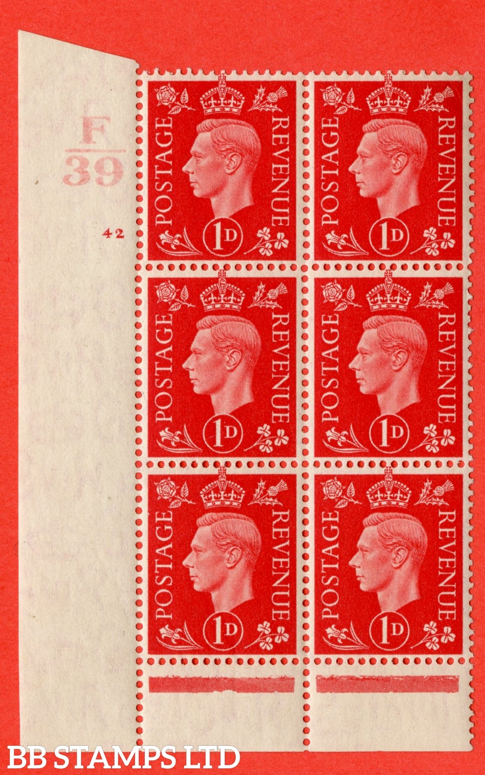 "SG. 463. Q4. 1d Scarlet. A superb UNMOUNTED MINT "" Control F39 cylinder 42 no dot "" block of 6 with perf type 6 I/P with marginal rule."