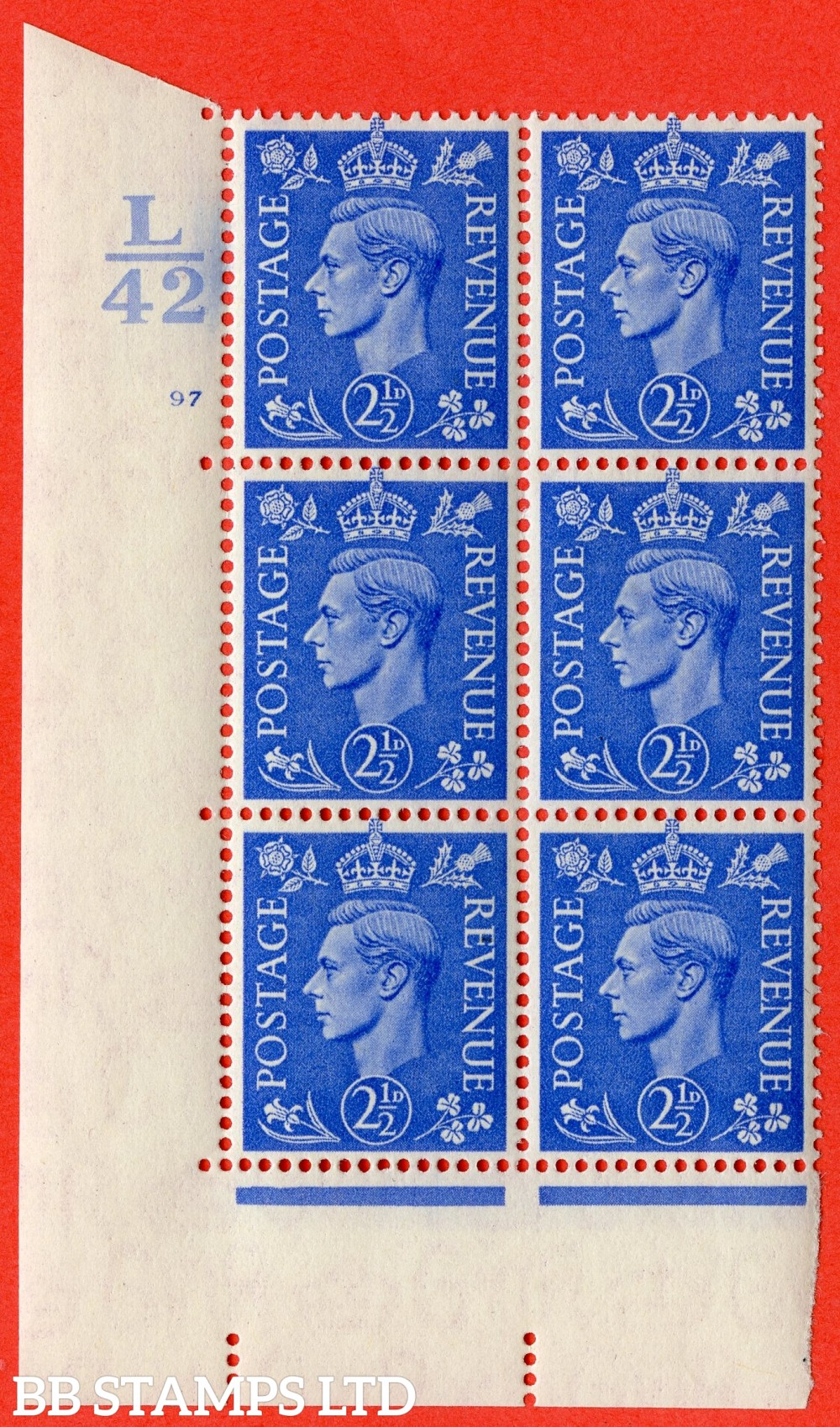 "SG. 489. Q14. 2½d Light ultramarine. A superb UNMOUNTED MINT "" Control K42 cylinder 97 no dot "" control block of 6 with perf type 5 E/I."