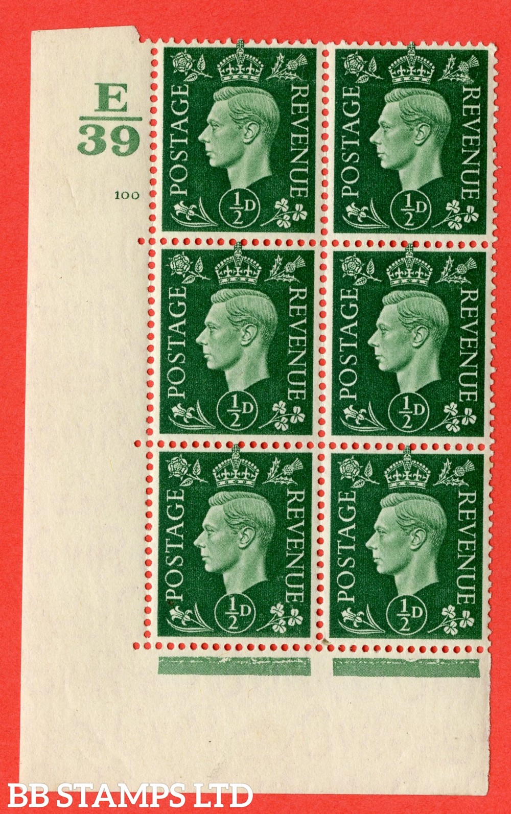 "SG. 462. Q1. ½d Green. A fine lightly mounted mint "" Control E39 cylinder 100 no dot "" block of 6 with perf type 5 E/I with marginal rule."