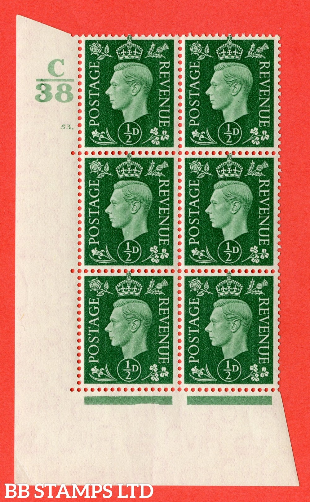 "SG. 462. Q1. ½d Green. A superb UNMOUNTED MINT "" Control C38 cylinder 53 dot "" block of 6 with perf type 5 E/I."