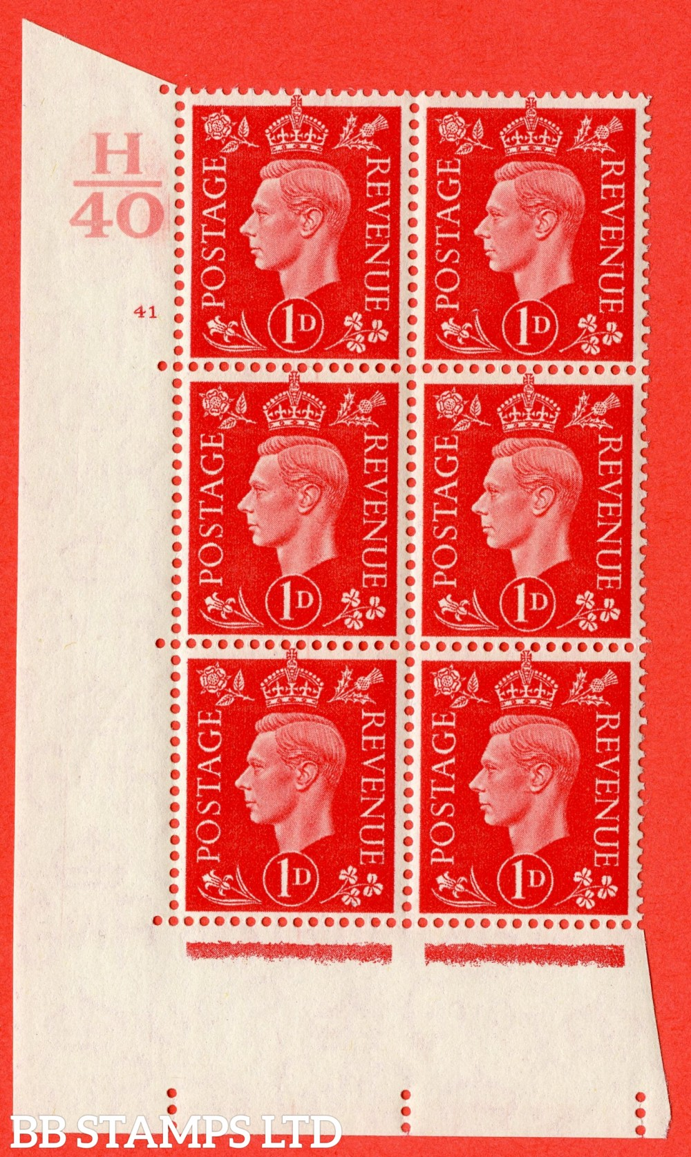 "SG. 463. Q4. 1d Scarlet. A superb UNMOUNTED MINT "" Control H40 cylinder 41 no dot "" block of 6 with perf type 5 E/I."