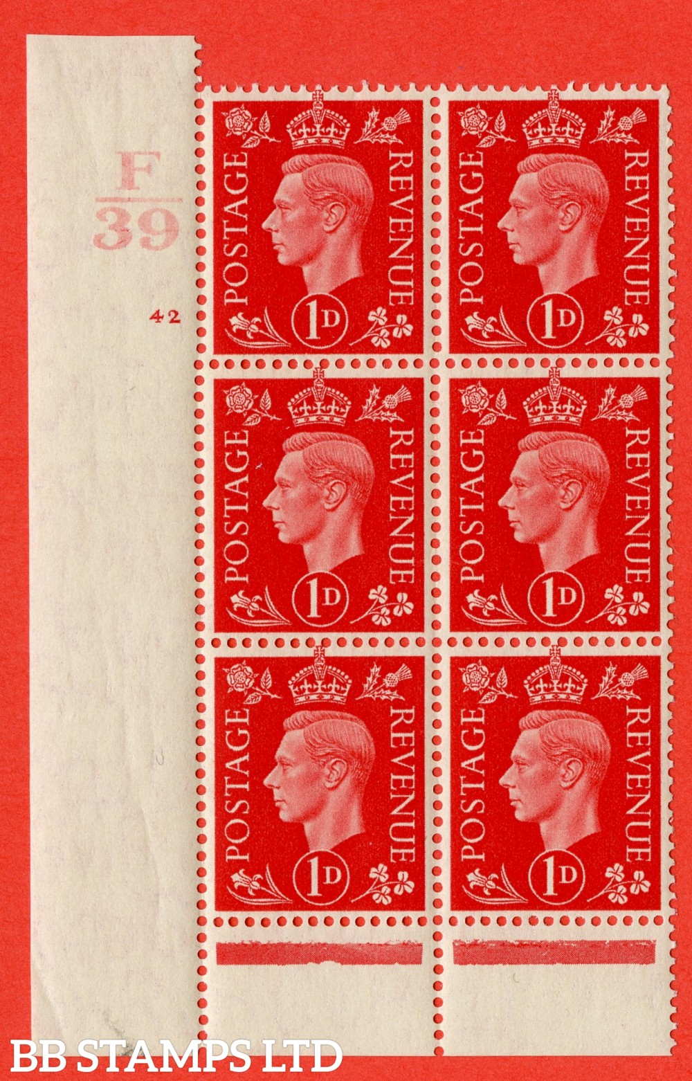 "SG. 463. Q4. 1d Scarlet. A superb UNMOUNTED MINT "" Control F39 cylinder 42 no dot "" block of 6 with perf type 6B E/P."