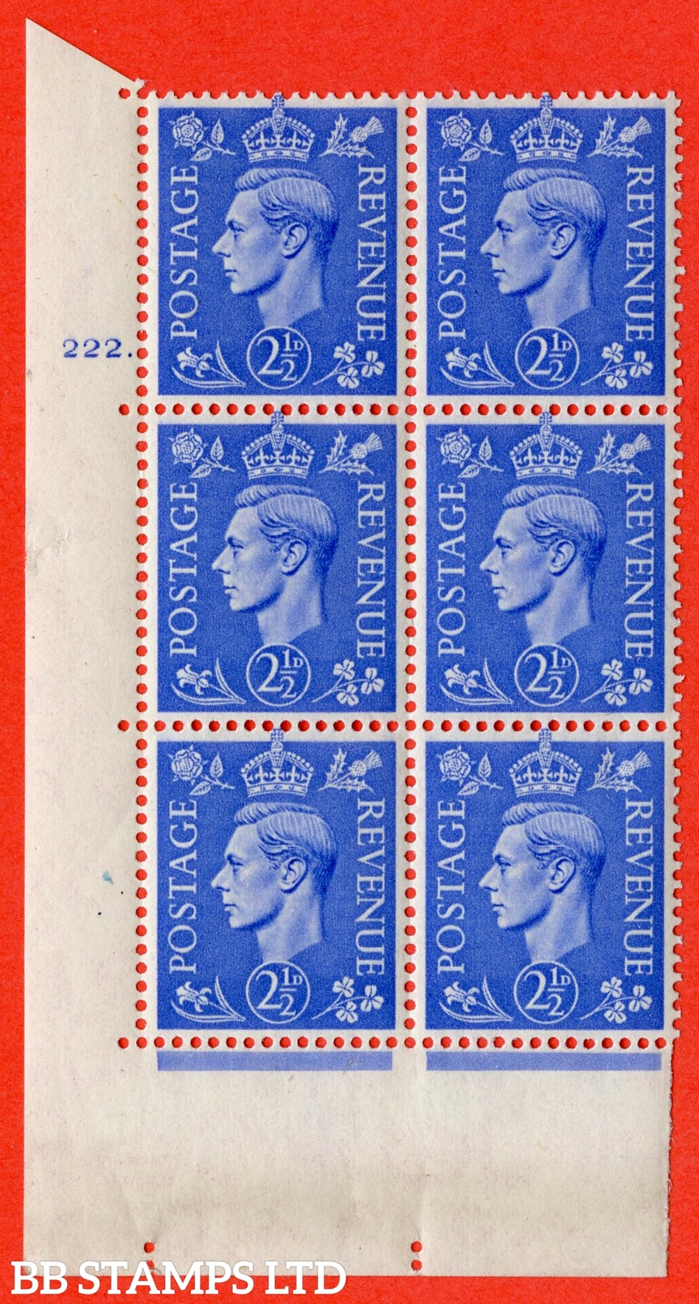 "SG. 489. Q14. 2½d Light ultramarine. A superb UNMOUNTED MINT "" No Control cylinder 222 dot "" control block of 6 with perf type 5 E/I"