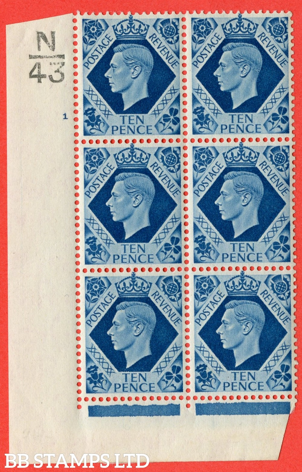 """SG. 474. Q26. 10d Turquoise-Blue. A fine lightly mounted mint """" Control N43 cylinder 1 no dot """" control block of 6 with perf type 2 I/E."""