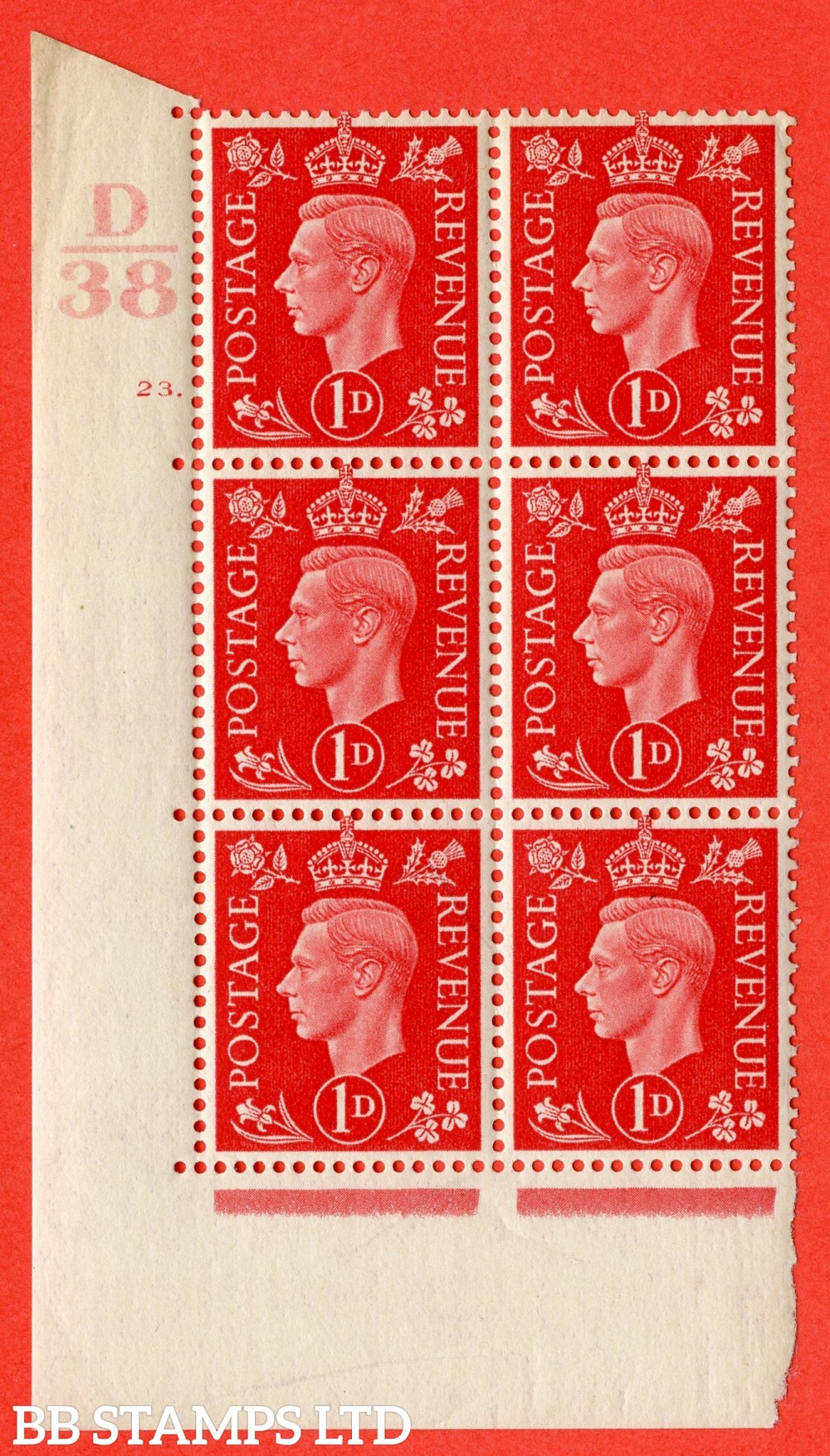 "SG. 463. Q4. 1d Scarlet. A superb UNMOUNTED MINT "" Control D38 cylinder 23 dot "" block of 6 with perf type 5 E/I with marginal rule."