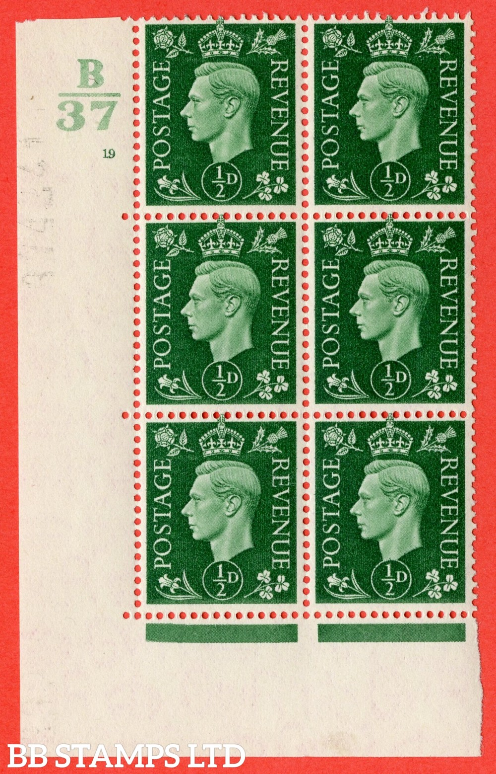 "SG. 462. Q1. ½d Green. A superb UNMOUNTED MINT "" Control B37 cylinder 19 no dot "" block of 6 with perf type 5 E/I with marginal rule."