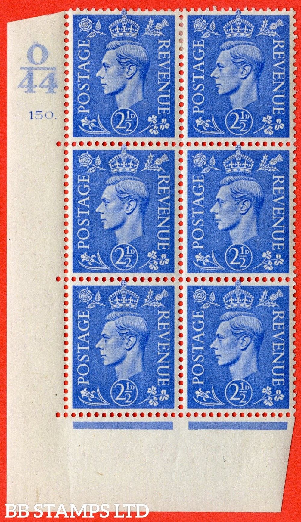 "SG. 489. Q14. 2½d Light ultramarine. A fine lightly mounted mint "" Control O44 cylinder 150 dot "" control block of 6 with perf type 5 E/I."