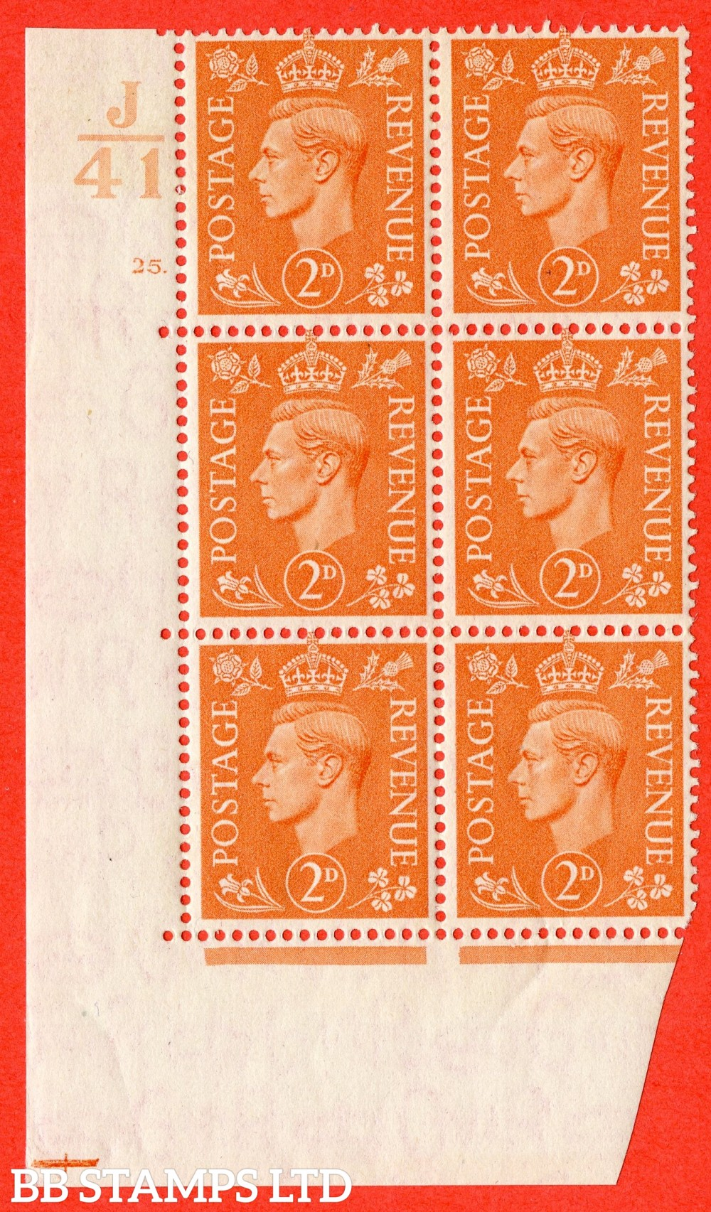 "SG. 488. Q11. 2d Pale Orange. A fine lightly mounted mint "" Control J41 cylinder 25 dot "" control block of 6 with perf type 5 E/I."