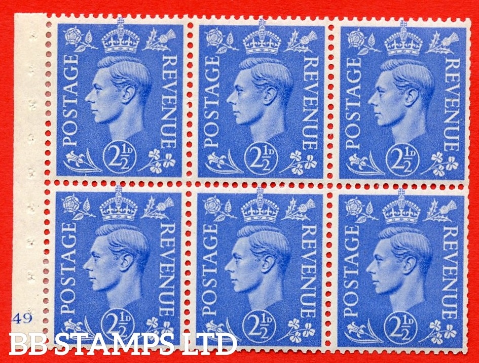 """SG. 489f. QB33. 2½d blue. A fine UNMOUNTED MINT complete Cylinder pane of 6 J49 No dot. Perf type """"B3(I)"""". Trimmed Perfs."""