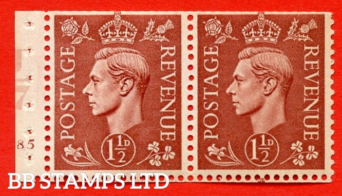 """SG. 487b. Q25. 1½d pale red brown. UNMOUNTED MINT. Complet cylinder pane of 2 185 No Dot. Control U47 Perf Type """"E"""". Trimmed Perfs."""