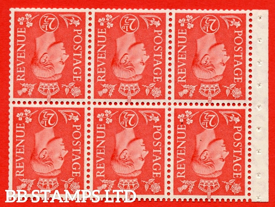 """SG. 507cw. QB34a. 2½d pale scarlet. A fine MOUNTED MINT Booklet pane of 6. Perf type """" I """". Trimmed Perfs."""