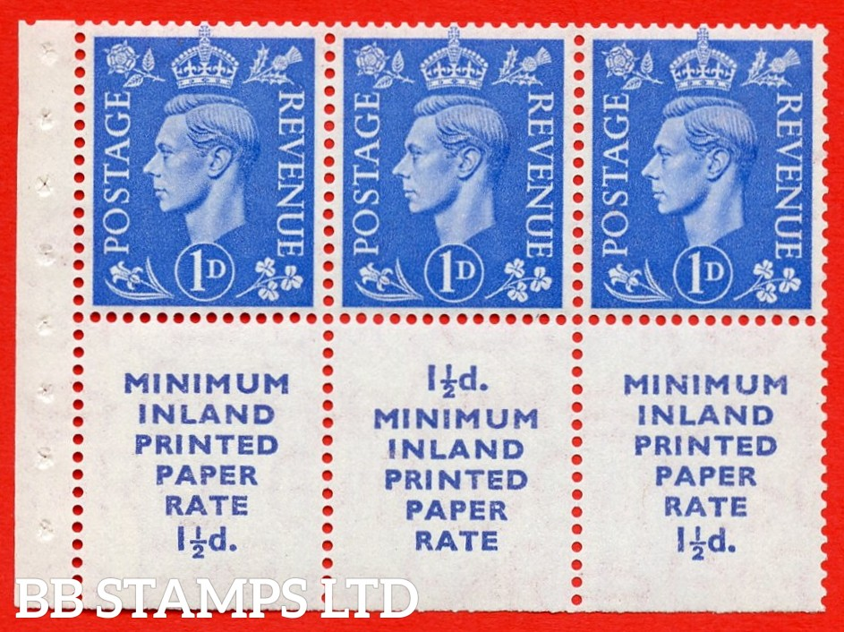 """SG. 504d. QB19. 1d ultramarine. A fine UNMOUNTED MINT complete booklet pane """" MINIMUM INLAND PRINTED PAPER RATE """" 15 mm high """". Perf type """" Iet """". Trimmed Perfs."""