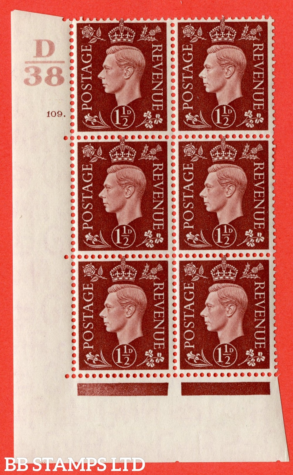 """SG. 464. Q7. 1½d Red-Brown. A fine lightly mounted mint """" Control D38 cylinder 109 no dot """" block of 6 with perf type 5 E/I."""