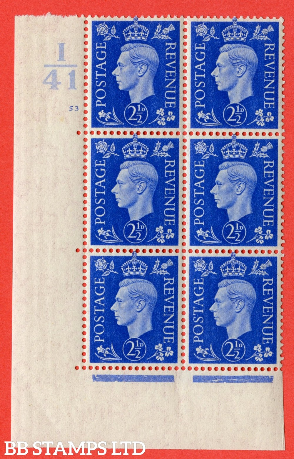 "SG. 466. Q13. 2½d Ultramarine. A superb UNMOUNTED MINT "" Control I41 cylinder 53 no dot "" control block of 6 with perf type 5 E/I."